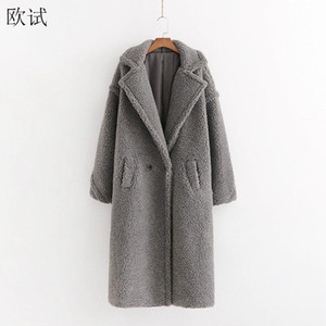 Más el tamaño de otoño invierno la piel de imitación del oso de peluche gris largo de la capa de las mujeres con estilo caliente grueso abrigos de cachemira Mujer falso Fourrure Chaqueta