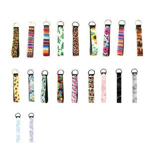 ألوان الرخام مطبوعة الحلي الأزياء معصمه سلسلة المفاتيح النيوبرين مفتاح حلقة السوار ليوبارد Serape عباد الشمس موضوع تسليم مفتاح