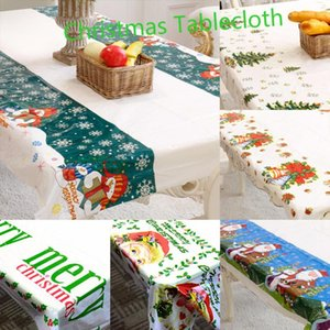110X180cm Christmas Tablecloth Banquet New Year Party Printing Rectangular PVC Christmas Atmosphere Table Cover Decorations