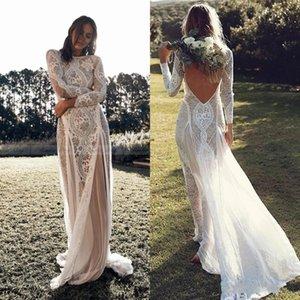2020 Lace Backless Vintage Boho Praia Bainha vestidos de casamento Long Sleeve Nude Forro País Bohemian Vestidos de casamento Hippie Gypsy Bride Dress