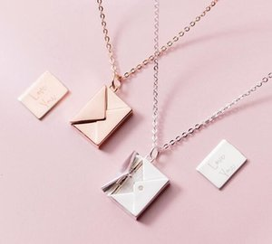 1PC Authentic 100% REAL. 925 Sterling Silver fINE Jewelry Lover Letter Envelope pendant Necklace Gift GTLx1793 V191203