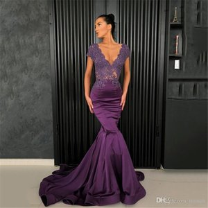 Long Evening Dress NEW Sexy Mermaid V-neck Cap Sleeve Beaded Lace Nude Back Purple Arabic Style Women Formal Evening Gown