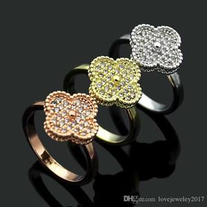 luxury designer jewelry women rings four leaf clover diamond ring titanium steel silver rose gold 18K gold engagement rings for women