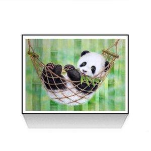 Nakış Kitleri Çapraz Dikiş kamaştırıcı Reçine Pullu Benzersiz Luster Uzun Süre Sigara Fading Boyama Panda 5D DIY Tam Yuvarlak Elmas