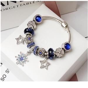 Personalidade Moda Micro-Set Oco Cinco Pontas Estrela Pingente Pulseira Criativa Cristal Azul Frisado Pulseira