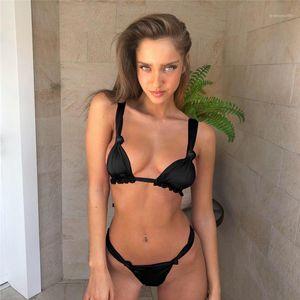 Briefs 2pcs Bikini Suits Bandage Designer Swimwear Clothing Women Bikini Sets Solid Color Low Waist Sexy Bras