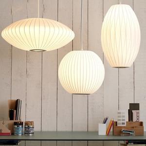 George Nelson Bubble soucoupe lampe lumière blanche pendentif en tissu soie Salle à manger Vêtements Boutique tissu restaurant Pendentif Lampe suspendue