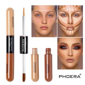 Phoera 스컬 하이라이트 얼굴 듀오 액체 컨실러와 브론 징 스틱 2 1 형광펜 피부 메이크업 더블 엔드 컨실러