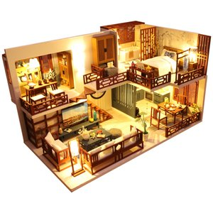 Cutebee DIY DollHouse Wooden Doll Houses Miniature Dollhouse Furniture Kit Toys for children New Year Christmas Gift Casa M025 Y200317