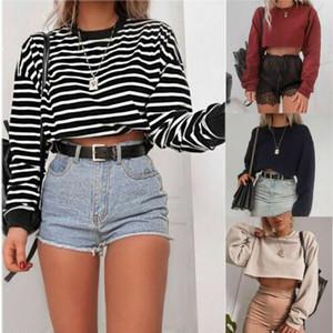 Мода 2019 новые женские с длинным рукавом растениеводство топ дамы повседневная свободные полосатая блузка хлопок рубашка пуловер топ уличная одежда