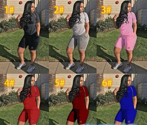 camisa de manga corta de las mujeres de Campeones T + cortos del chándal del equipo del verano impresión de la letra de 2 Piezas de deporte Joggers Set 2020