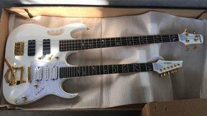Rare IBZ Sharnel 77V Blanc Double cou Guitare électrique 6 cordes guitare basse 4 cordes, Bigs Tremolo Cordier, Micros SAS, Matériel d'or
