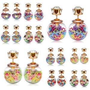 2019 New Crystal Double side stud earrings candy glass ball heart star eardrop pearl stud women ear stud earing fashion jewelry YD0139