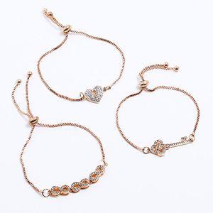 designer jewelry bracelets sets heart key charm bracelets box chain for women hot fashion free of shipping