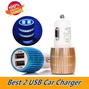 Colorido Universal USB Car Charger LED soquete 2 Port carregador adaptador liga de alumínio carregador de carro 2 USB para o iPhone de 11 x Samsung celulares