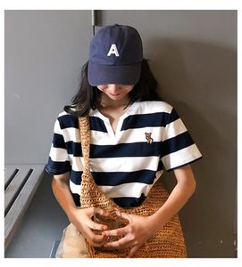 2020 Sommer-Frauen-T-Shirt Designer beiläufige kurze Hülsen-gestreiftes T-Shirt-Druck Mode Luxus Frauen Helle Splice-T-Shirt Cloth
