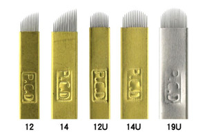 EPACK 하드 PCD 12 / 14 / 12 / 14 / 19u 핀 문신 바늘 Lamina Tebori 하드 Microblading 영구 메이크업 눈썹 문신 용품