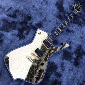 Espelho feito sob encomenda rachadura ps guitarra elétrica ouro espelho espelho top rebingboard