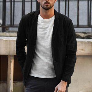 hh Men's Slim Fit Linen Blend Pocket Solid Long Sleeve Suits Blazer Jacket Outwear male 2y ring autumn high-end custom business