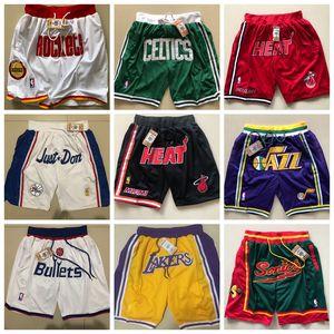 Все звездыДжеймсМужчины Rwtw шорты Just Don Леброн Баскетбол штаны ретро FOG Спорт Mesh LBJ Лос-АнджелесЛейкерШаровые штаны