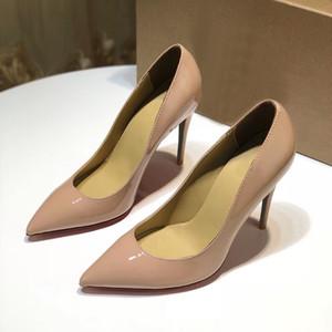 Red Bottom High Heel Shoes Women Designer Pelle verniciata Tacco alto Scarpe Slip-On scarpe a punta Donna Suola rossa Scarpe