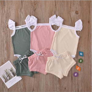 Kids Designer Clothes Girls Summer Solid Clothing Sets Boys Fly Sleeve Rompers Shorts Suits Knitted Cotton Jumpsuits PP Briefs Pants B7573