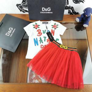 vêtements de fille kid boutique vêtir robe rouge pour grande fille lettre vêtements griffés bambin bébé mode de conception des tenues ensembles d'été du parti