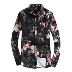 Lisible 2018 Homme Chemise chemises à manches longues impression florale hommes vêtements imprimé fleurs chemises de vacances Casual chemise 4XL 5XL Hommes