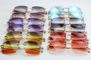 النظارات الشمسية المعدنية سلسلة النظارات الشمسية 3524012 فريد المتضخم الأشكال الكبيرة مربع العدسات التدرج المحيطي بدون شفة نظارات c زخرفة الذهب النظارات