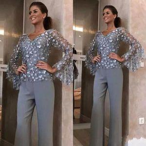 Moda Gümüş Gri Dantel Anne Gelin Pant Suits Düğün Damat Elbise Için 3D Çiçek Aplike Uzun Kollu Kıyafet Konfeksiyon BC2014