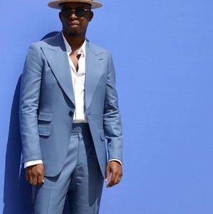 New Fashion One Button Light Blue smokings marié pic hommes Lapel Costumes de mariage / robe de bal / dîner Best Man Blazer (Veste Pantalons Tie) W346