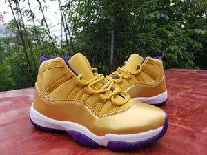 2020 Yeni varış 11 11s Yüksek Erkek basketbol ayakkabıları sayısı 24 beyaz mor altın 11'leri Spor Ayakkabıları Boyut 40-47