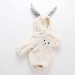 Cute Rabbit Ears Jumpsuit For Infant Toddler Newborn Baby Boys Girls Clothes Cat Hooded Fleece Romper Outerwear Outfits Costume