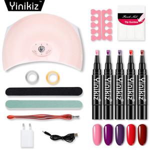 Yinikiz 15pcs / set pluma del clavo del esmalte de uñas conjunto del arte de la lámpara ultravioleta 36w LED 5 colores Un paso polaco del gel de la pluma Kit
