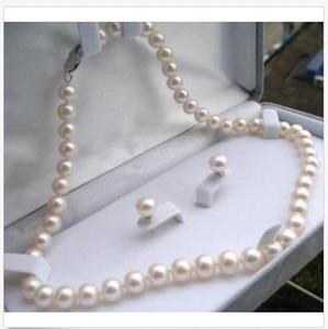 """7-8mm reale naturale bianco Akoya perla coltivata collana orecchini gioielli set 18 """""""