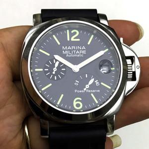 reloj de los 44MM correa de caucho negro de acero inoxidable reloj automático calendario de alta calidad el caso de los hombres M44-J