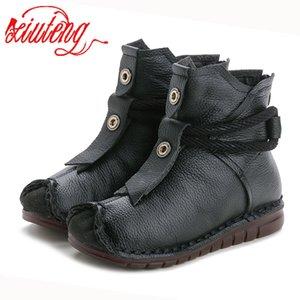 Xiuteng Round Top Botas Genuien couro Inverno Platform Feminino Vintage neve Botas Handmade LaceWomen quentes Shoes