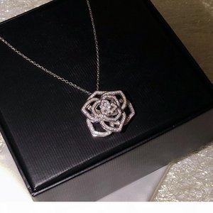 Woman Jewelry rose Necklace high quality 925 Silver Flower Pendant Necklace for women love gift Free shipping 40-45cm