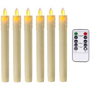 Remote и таймер, пакет из 6 Янтарных Танцев светодиодных беспламенных свеч, красной пластиковых свеч батареи Moving Wick клиновых рождественские свечи T191026