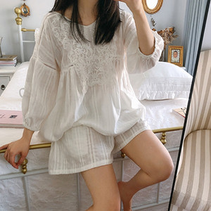 delle donne sveglie Lolita principessa Pajama Set cotone Tops + Shorts.Vintage signora Girl Lace Pajamas Sleepwear set.Victorian Loungewear