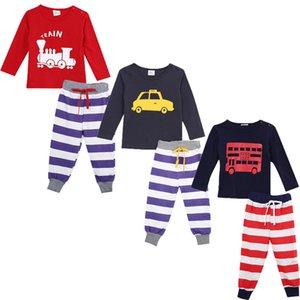 وصول طفل جديد للأطفال بنين بيجامة مجموعات الملابس المصنوعة من القطن عارضة مجموعات الكرتون كم طويل بلايز + الشريط سروال نوم ملابس للنوم