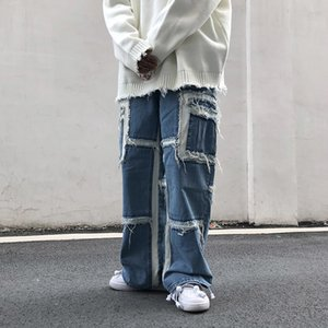 UNCLEDONJM Anhänger Wide Leg Jeans Herrenmode Street Fashion Hip-Hop-lose Splicing Hosen Desinger Herren-Jeans Männer