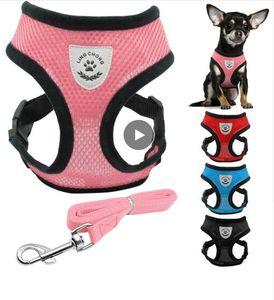 Harnais et laisse de chien respirant pour animaux de compagnie mis en collier de harnais gilet chat chat pour Chihuahua Carlin Bulldog Cat arnes perro