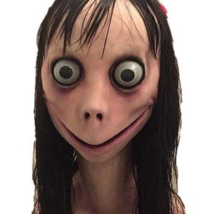 Korku Momo Maske Hacking Oyun Korku Lateks Tam Başkanı Momo Uzun Peruk T191010 ile Big Eye Mask