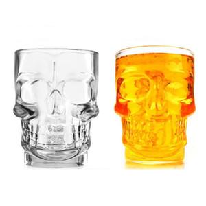 Творческий ручной Череп Shaped Пивной стеклянная чашка 500 мл Большая емкость Бар KTV Пиво стекла с ручкой хрустального черепа Стекло кубковые DH1191 T03