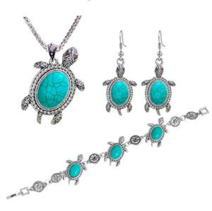 Look vintage argento antico placcato carino tartaruga ciondolo turchese collana bracciale orecchini gioielli set gioielli animali set 3 colori