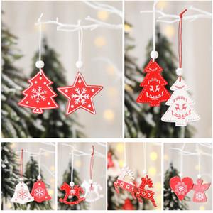 12pcs / lot Weihnachtsbaum-Anhänger-Verzierung Hölzerne Hanging Anhänger Weiß Rot Engel Schnee-Bell-Elk Star Home Weihnachtsdeko HH9-A2545