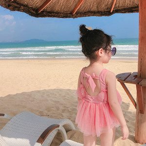 INS Children Lace Princess spa beach swimwear Fashion Bow Lace-up Holiday Kids bathing suit Girls Tulle Tutu Swimsuits C6296