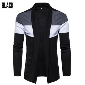 MISSKY 2019 Contraste nuevo otoño invierno de los hombres del suéter de la solapa de la rebeca que hace punto de la moda Color de manga larga capa ocasional hombre camiseta