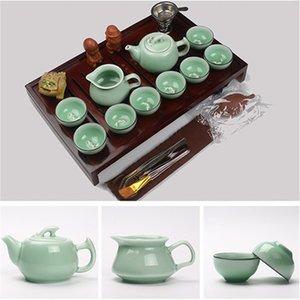 ventas calientes Kung Fu chino juego de té Vaso de cerámica de arcilla púrpura incluyen Tea Pot Copa, madera natural sopera infusor de té bandeja Chahai